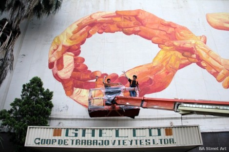 Workers Coop and former Ghelco ice cream factory being painted by graffiti artists. Photo: buenosairesstreetart.com