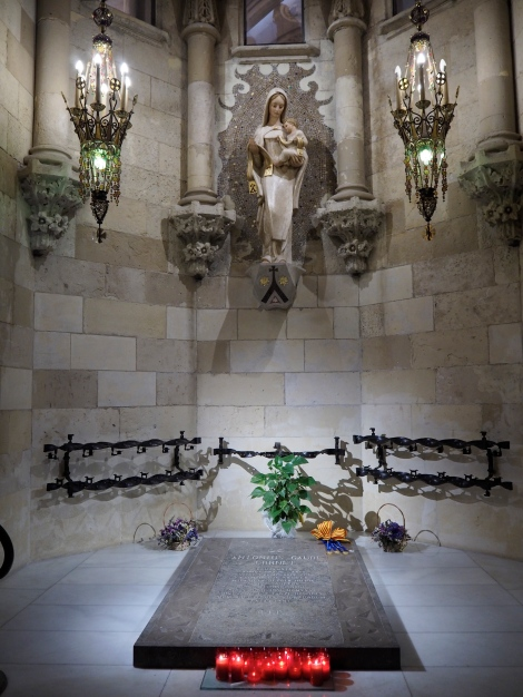 Gaudi's tomb in the crypt of the Sagrada Familia